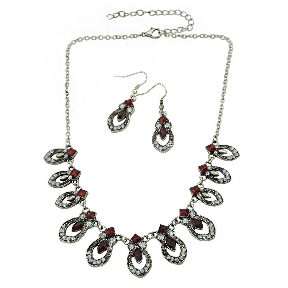 Fashion Rhinestone Maxi Collar Necklace and Drop Earrings