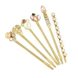 6pcs Simulated-pearl Colorful Crystal Flower Barrettes Hairpin -