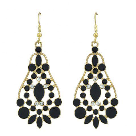 Hollow-out Colorful Glaze Pendant Earrings - Black