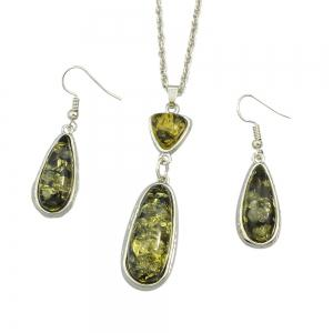 Resin Water Drop Pendant Necklace and Hanging Earrings -