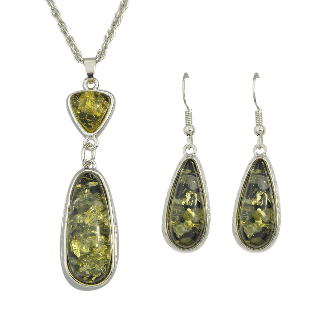 Trendy Resin Water Drop Pendant Necklace and Hanging Earrings