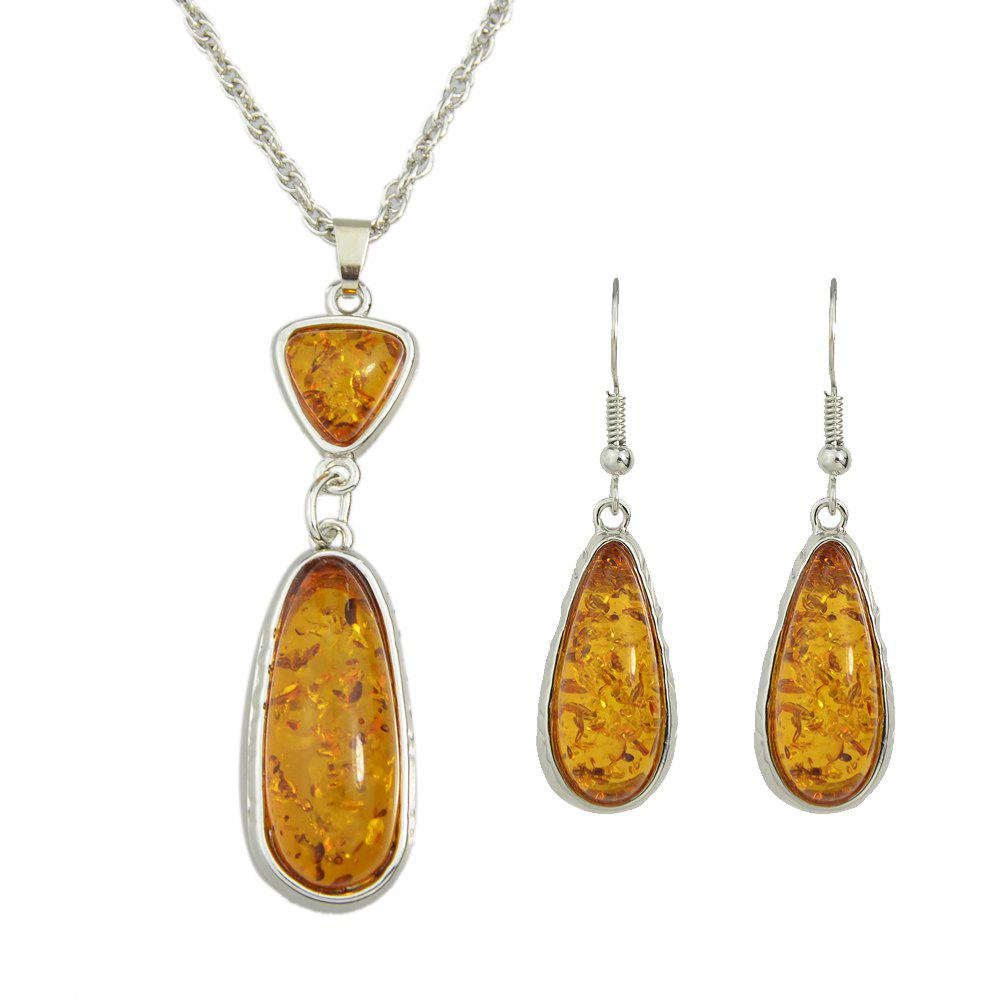 New Resin Water Drop Pendant Necklace and Hanging Earrings