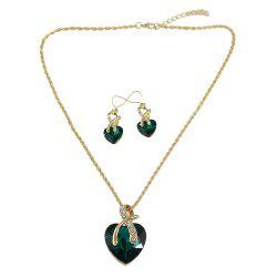 Colorful Crystal Heart Charm Necklaces and Heart Dangle Earrings -