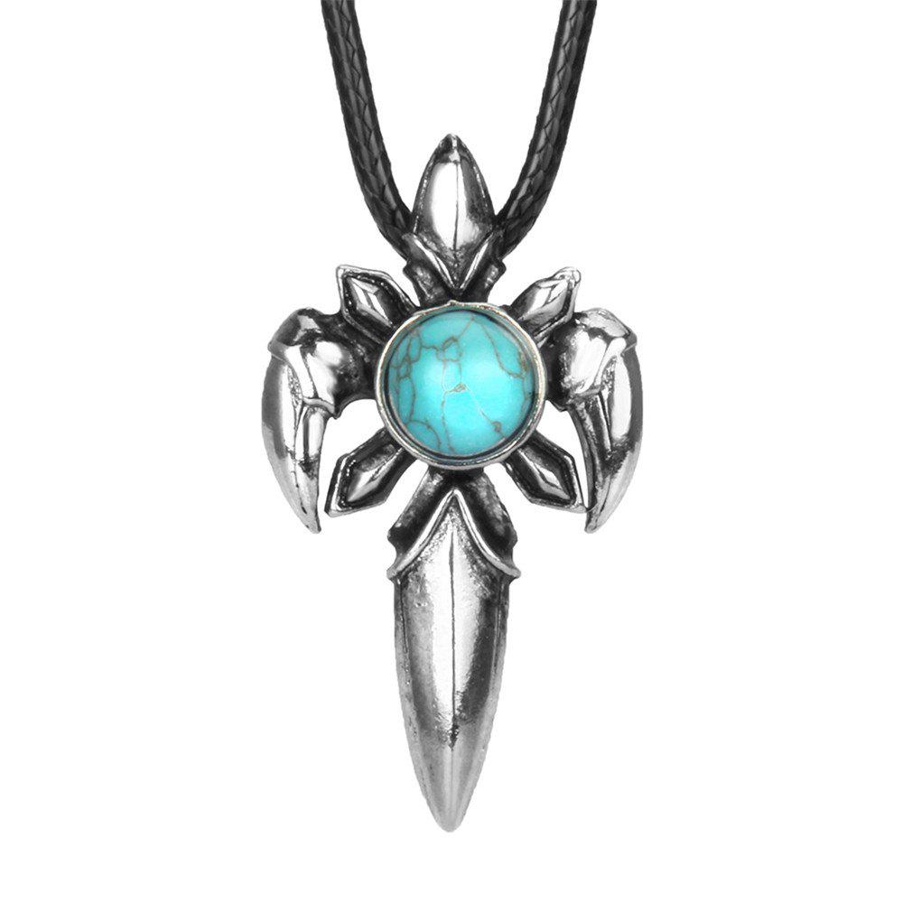 Cheap Fashion Accessories Personality Sword - Shaped Turquoise Necklace