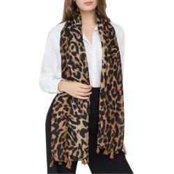 Fashion Leopard Tassel Cotton and Hemp Scarf -