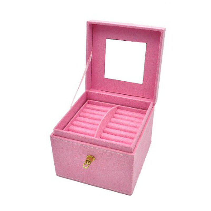 Fashion Three Layers Flannel Jewelry Display Portable Cosmetic Box