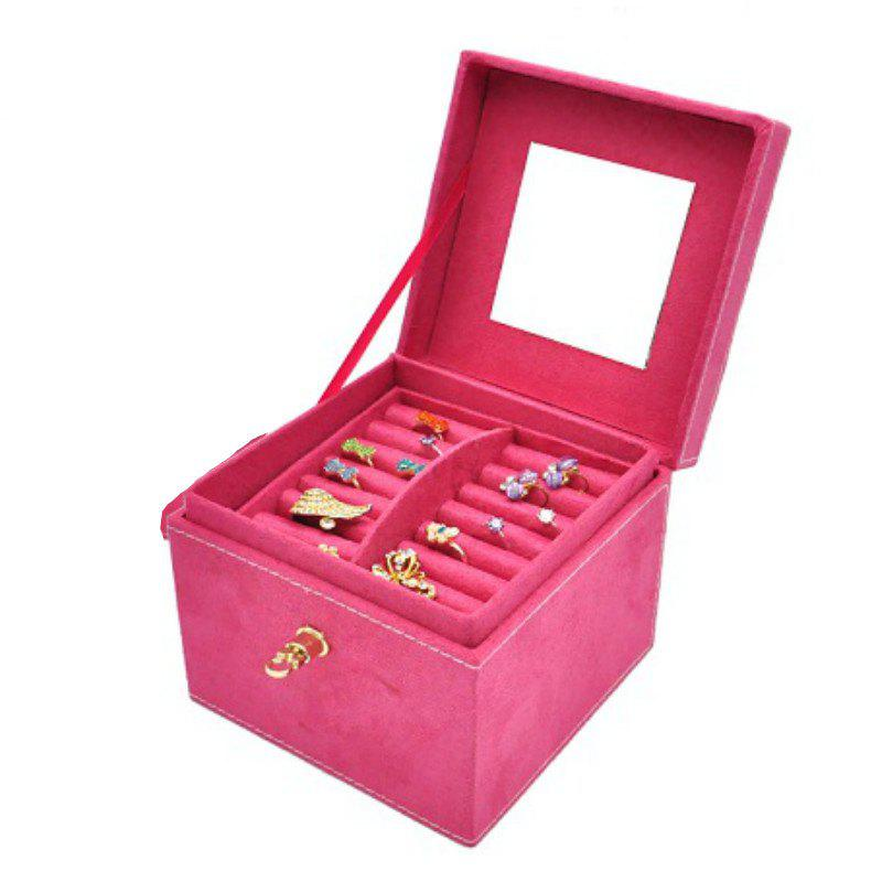 Unique Three Layers Flannel Jewelry Display Portable Cosmetic Box