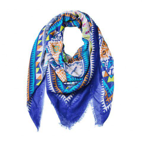 New Women Ethnic Style Cotton Bohemian Tassel Printed Large Square Scarf