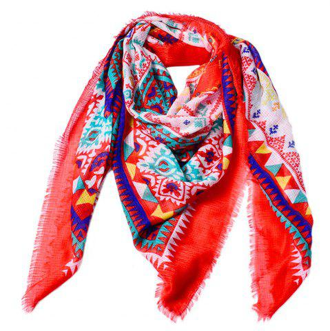 Cheap Women Ethnic Style Cotton Bohemian Tassel Printed Large Square Scarf