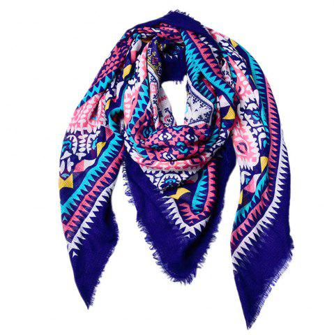 Hot Women Ethnic Style Cotton Bohemian Tassel Printed Large Square Scarf