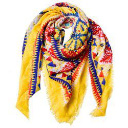 Women Ethnic Style Cotton Bohemian Tassel Printed Large Square Scarf -