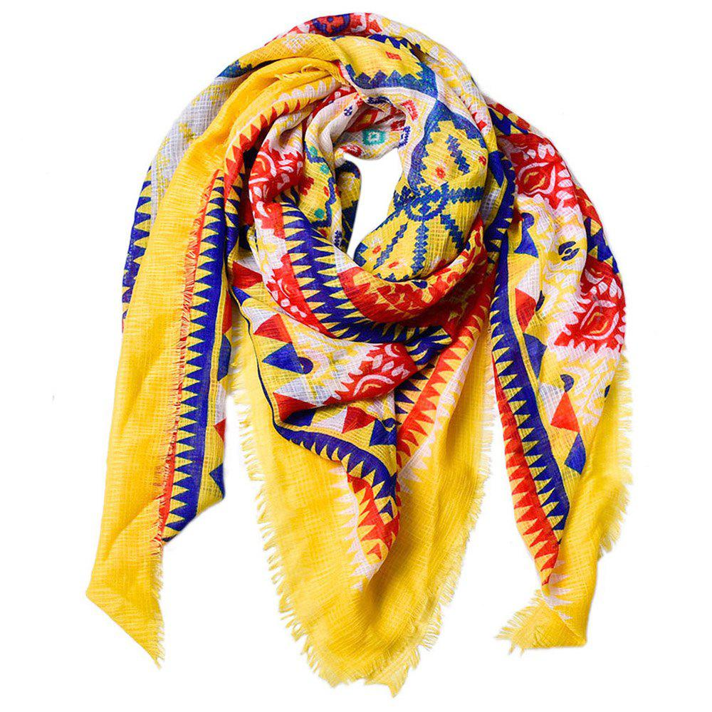 Shop Women Ethnic Style Cotton Bohemian Tassel Printed Large Square Scarf