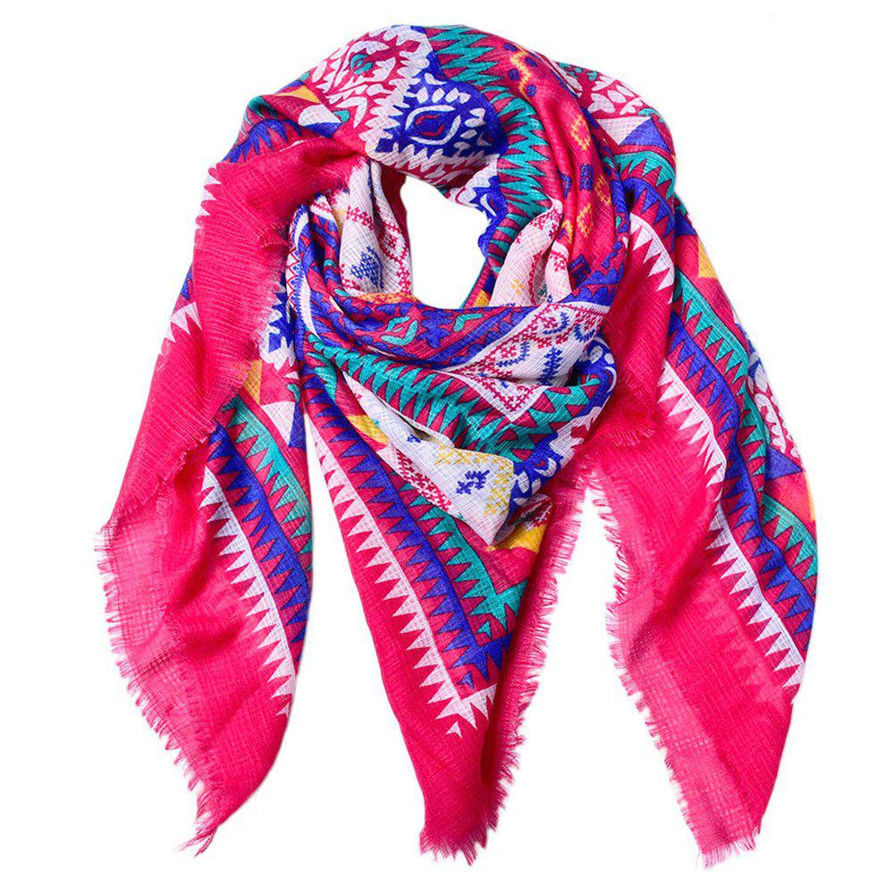 Store Women Ethnic Style Cotton Bohemian Tassel Printed Large Square Scarf