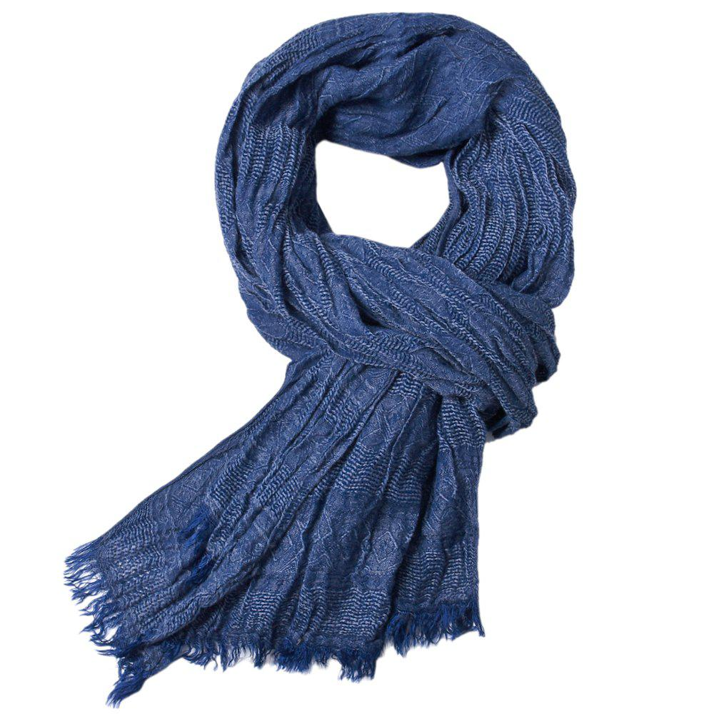 Trendy Newest Fold Yarn-Dyed Soild Warm Soft Scarves for Men