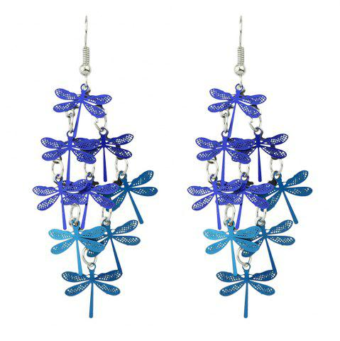 Multi-layer Colorful Dragonfly Drop Earrings - Blue
