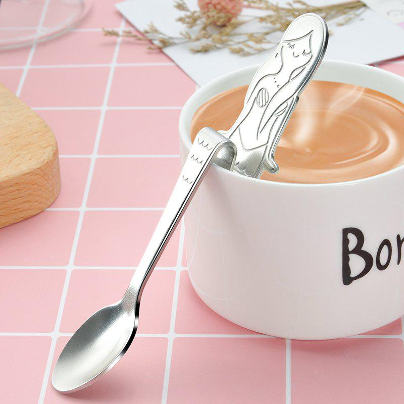 Buy Mermaid Curved Stainless Steel Condiment Coffee Spoon Kitchen Bar Cafe
