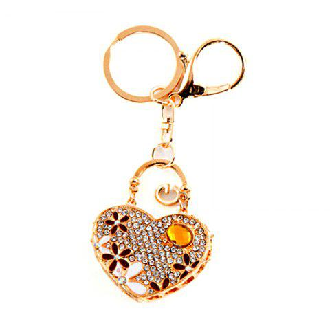 Love Heart Car Pendant Ladies Bag Alloy Keychain - Bright Yellow