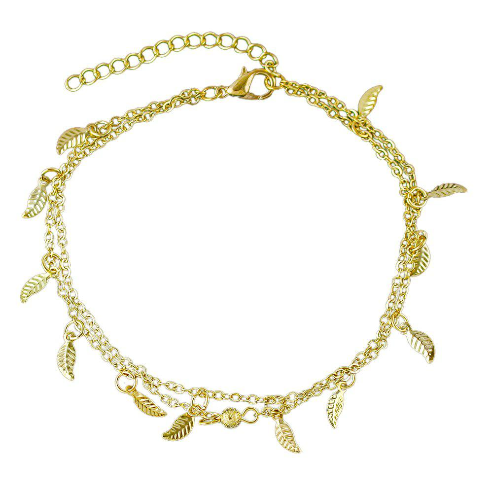 Hot Bohemian Jewelry Double-layer Leaf Chain Anklets