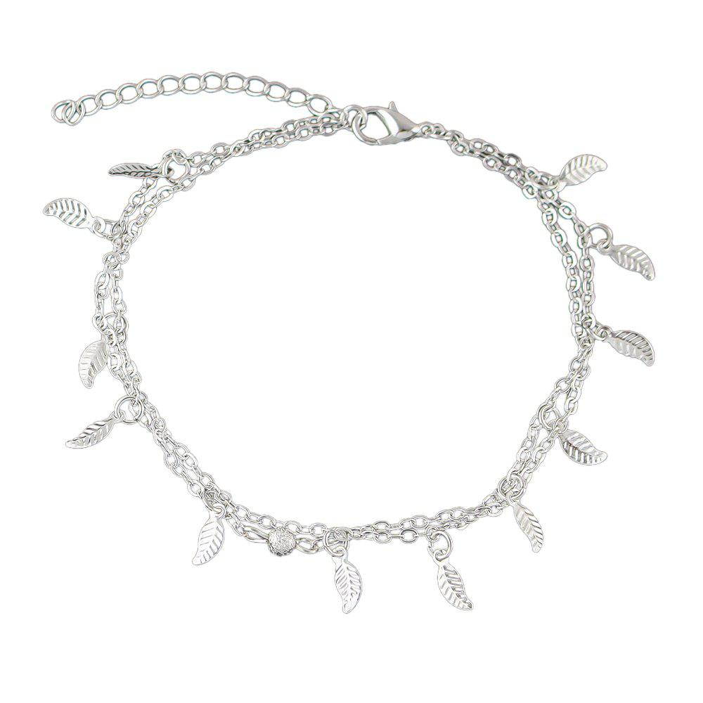 Fashion Bohemian Jewelry Double-layer Leaf Chain Anklets