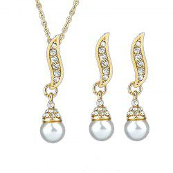 Delicate Leaf Imitation-pearl Design Necklace and Earrings -