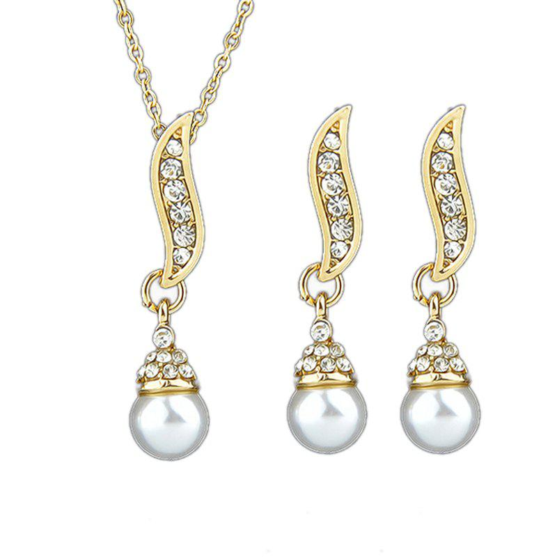 Buy Delicate Leaf Imitation-pearl Design Necklace and Earrings