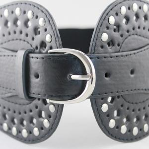 PU Leather Hollow-out Wide Elastic Belt -
