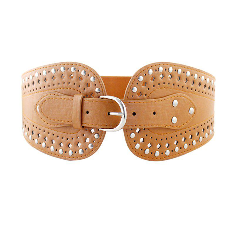 Buy PU Leather Hollow-out Wide Elastic Belt