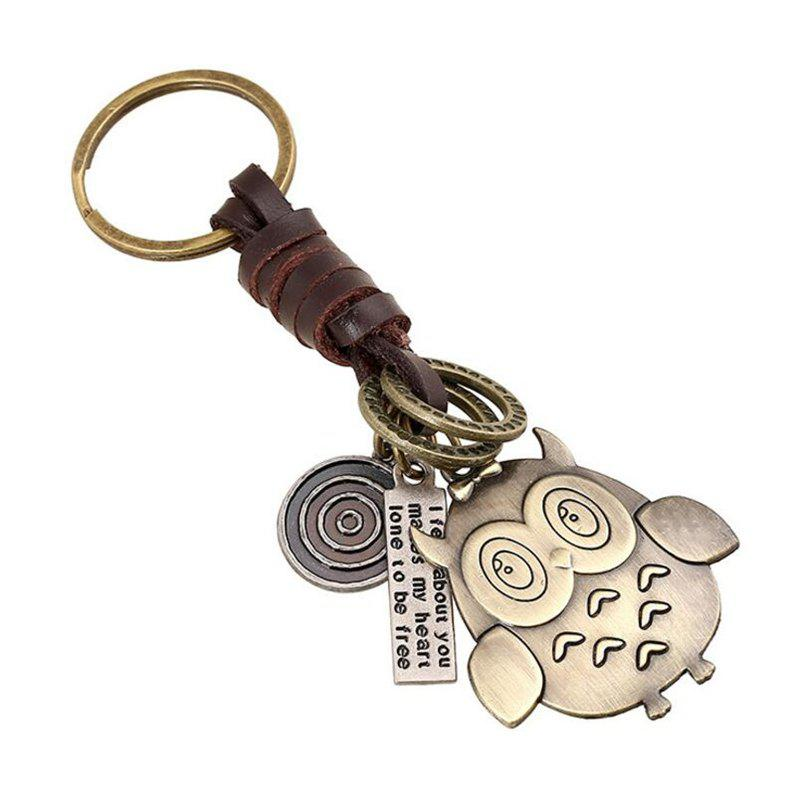 Discount Vintage Woven Leather Bronze Alloy Pendant Keychain
