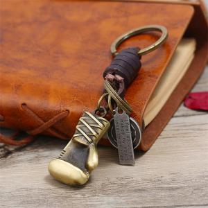 Retro Alloy Car Keychain Creative Small Gift Leather Key Chain -