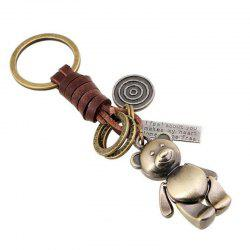 Alloy Cartoon Retro Woven Leather Keychain Key Pendant -