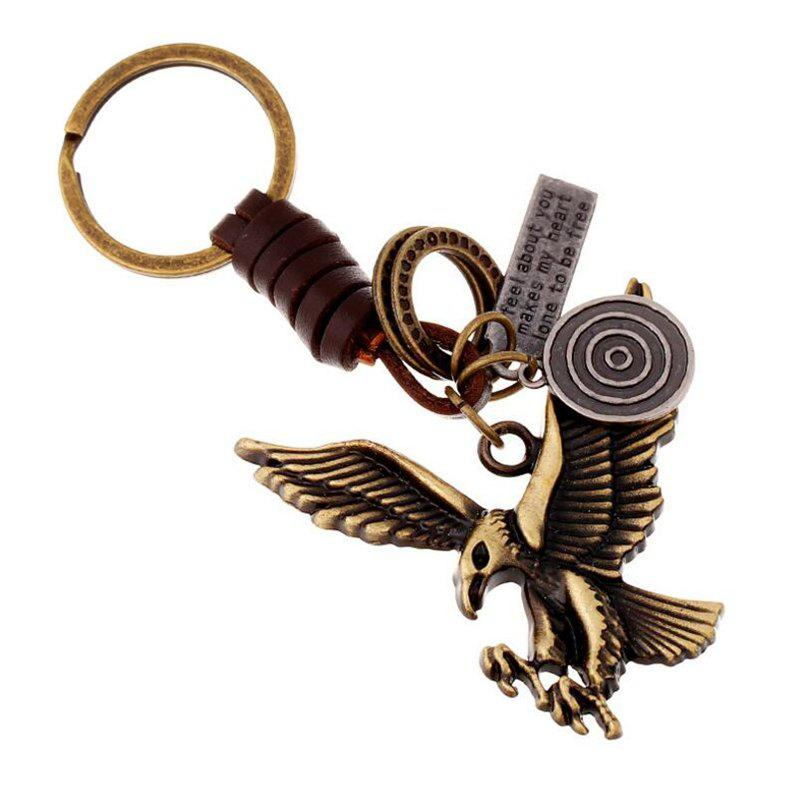Fashion Creative Alloy Bronze Eagle Vintage Woven Leather Keychain