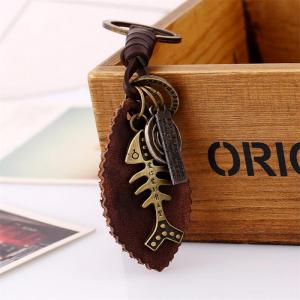 European and American Alloy Fish Bones Vintage Woven Leather Keychain -