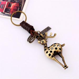 European and American Alloy Deer Vintage Woven Leather Keychain -