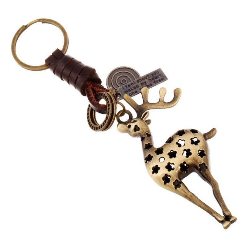Chic European and American Alloy Deer Vintage Woven Leather Keychain