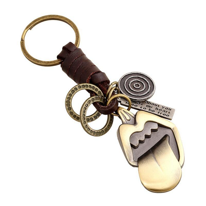 Outfit European and American Creative Alloy Retro Tongue Woven Leather Key Pendant