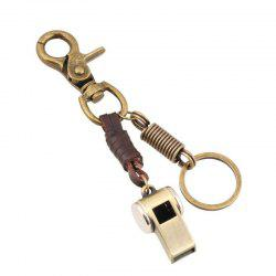 European and American Retro Leather Alloy Whistle Decorative Keychain -