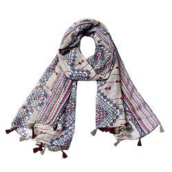 New Ladies Rhombus Printed Tassel Viscose Scarf -