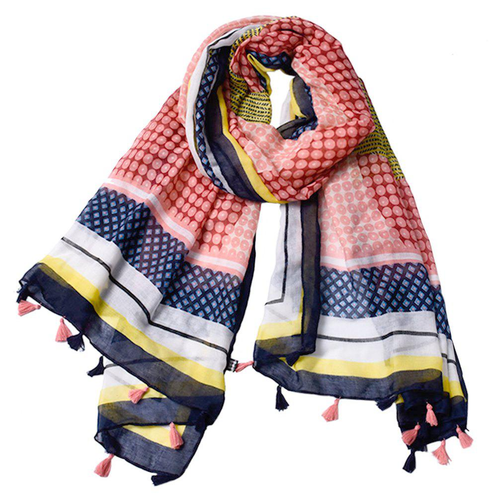 Cheap Women Wave Point Printed Tassel Viscose Scarf
