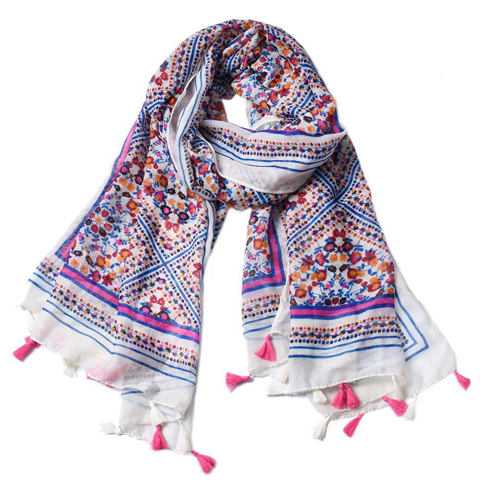 Unique Women Floral Printed Tassel Viscose Scarf