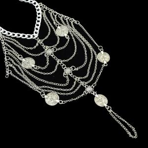 Silver Color Multi Layers Chain with Coin Anklets -
