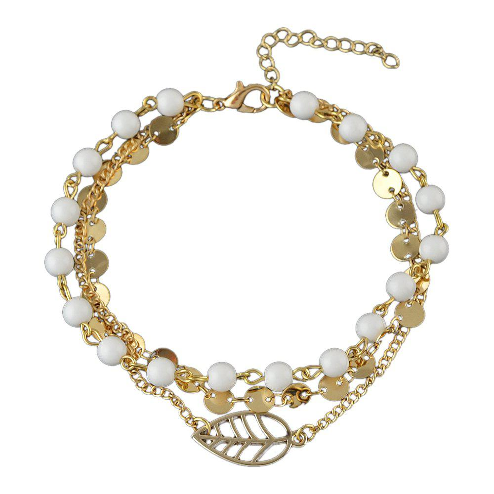 Trendy Gold-color Silver Color Chain Bead Anklets with Leaf