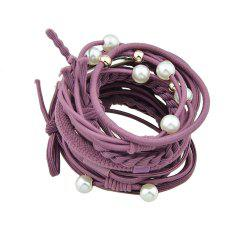 12pcs Colorful Rope with Simulated-pearl Bowknot Headbands -
