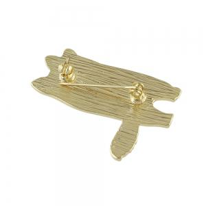 Gold-color with Enamel Cute Cat Brooches Pin -