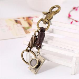 European and American Men's Retro Leather Alloy Camera Pendant Keychain -