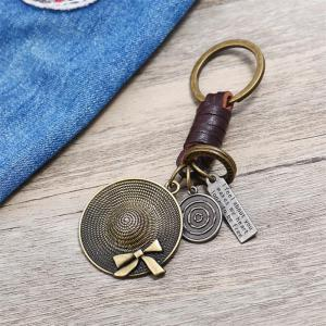 European and American Retro Creative Small Gift Hat Leather Keychain -