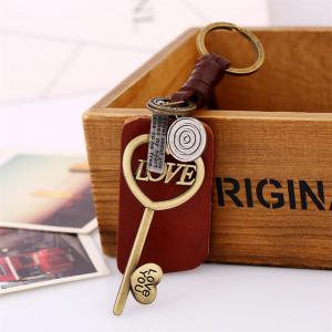 European and American Couple Alloy Key Leather Pendant Keychain -