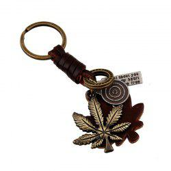 European and American Retro Punk Alloy Maple Leaf Leather Keychain -