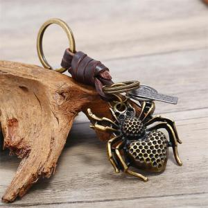European and American Retro Small Gift Alloy Spider Leather Keychain -