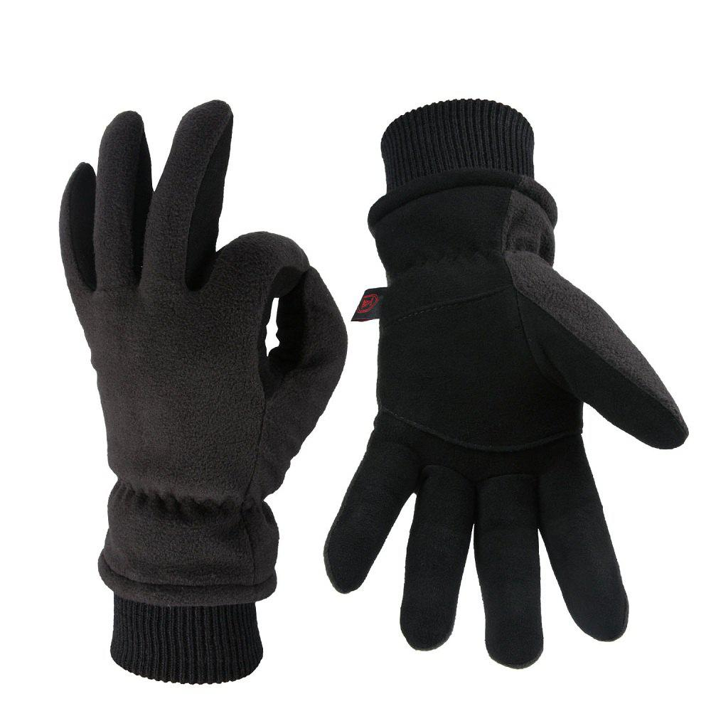 Affordable OZERO Winter Sports Gloves Deerskin and Polar Fleece for Men and Women