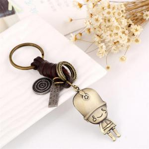European and American Innovative Vintage Woven Leather Keychain -